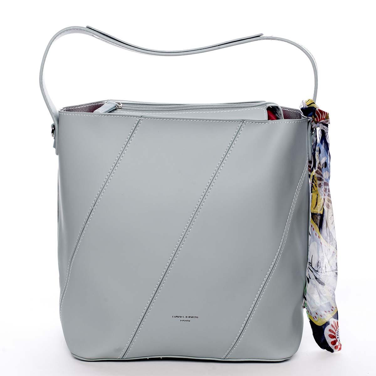 Elegantní dámská kabelka přes rameno mentolová - David Jones Abena.  A4:ne (v nejhorších případech ano) Materiál:syntetická kůže Kování:stříbrné Hmotnost:0,65 Kg Rozměry: 34 x 29 x 16,5 cm (šířka x výška x hloubka) Délka ucha:17,5 cm (měřeno odohybuucha kolmo ke kabelce) Délka popruhu:nastavitelný, odnímatelný Kód zboží:5911-1