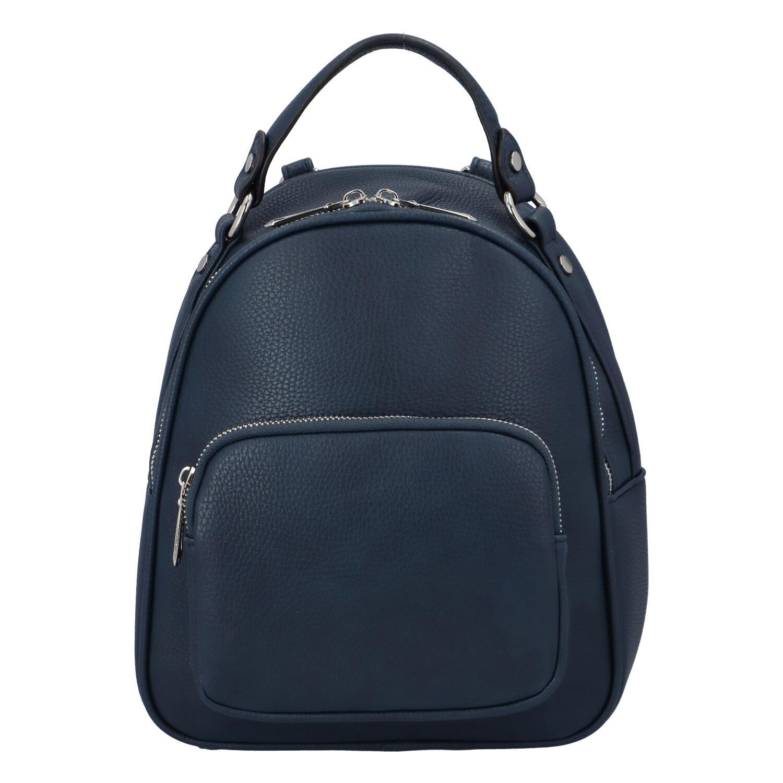 Dámský módní batůžek kabelka tmavě modrý - FLORA&CO Jante. A4:ne Materiál:syntetická kůže Kování:stříbrné Rozměry (max.):25 x 27 x 15 cm (šířka x výška x hloubka) Výška ucha:9 cm (měřeno odohybuucha kolmo ke kabelce) Délka popruhu:nastavitelná, odnímatelné Kód zboží:F8055