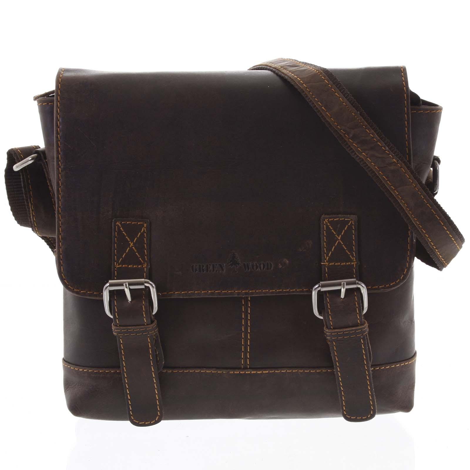 Pánská kožená crossbody taška tmavě hnědá - Greenwood Yassin hnědá