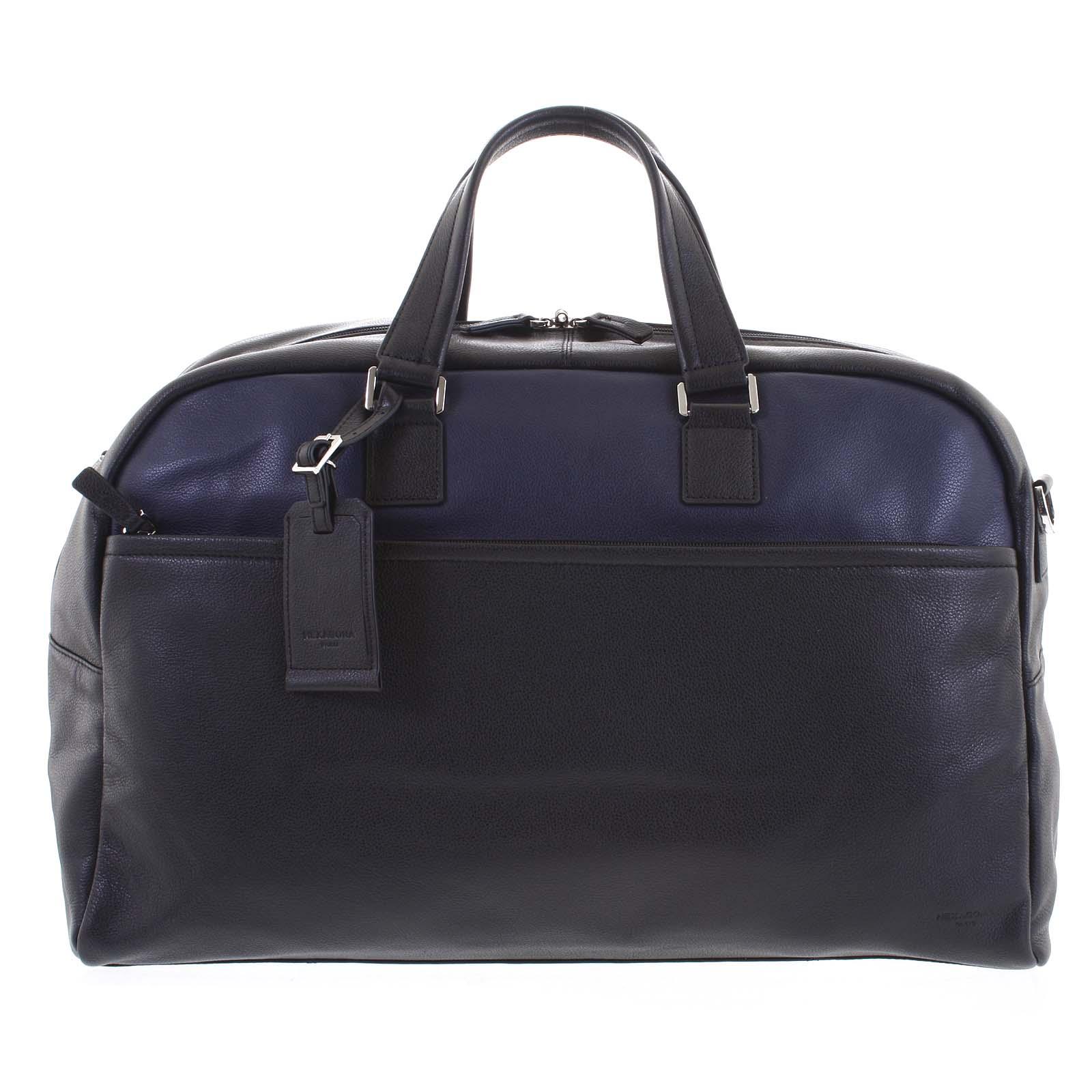 Cestovní kožená taška černo modrá - Hexagona Everyday modrá
