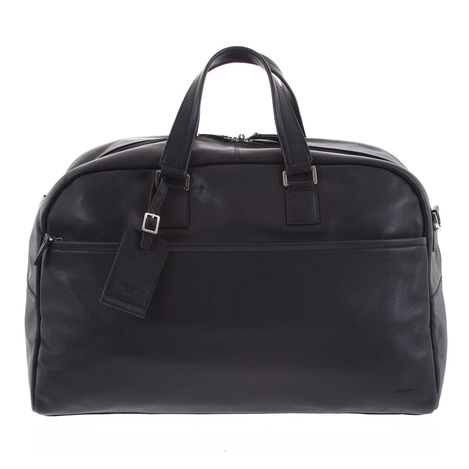 Cestovní kožená taška černá - Hexagona Everyday černá
