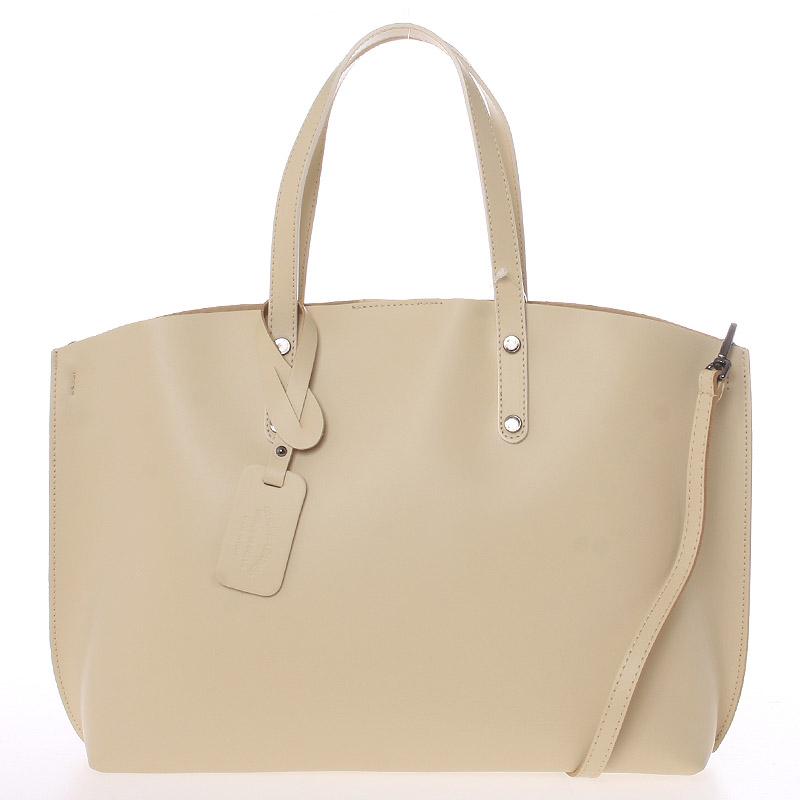 Béžová kožená kabelka do ruky ItalY Jordana béžová