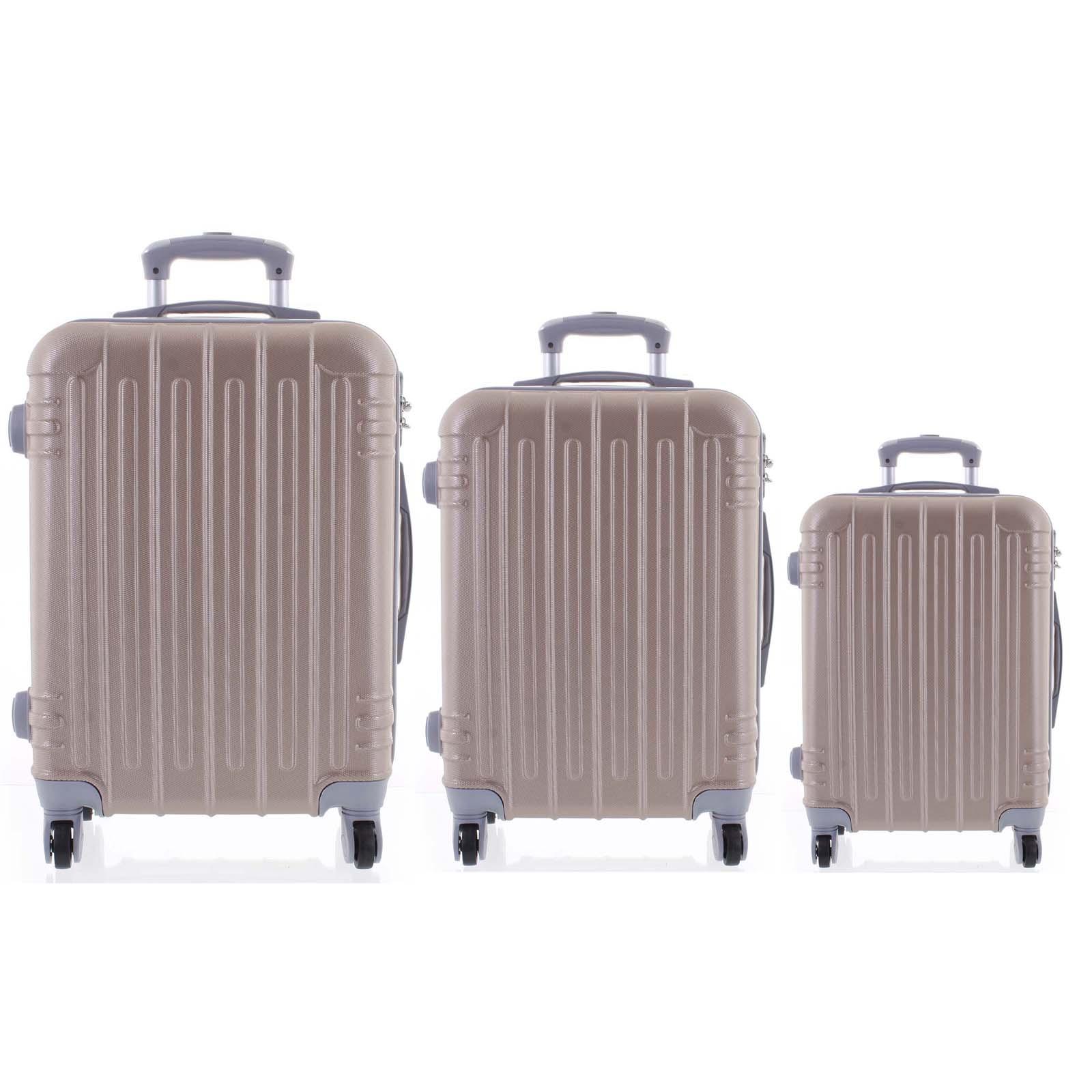 Levně Moderní růžově zlatý skořepinový cestovní kufr sada - Ormi Dopp S, M, L