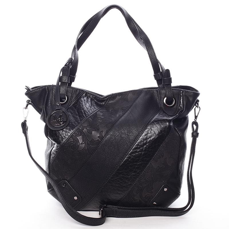 Dámská elegantní kabelka černá se vzorem - Maria C Eirene černá