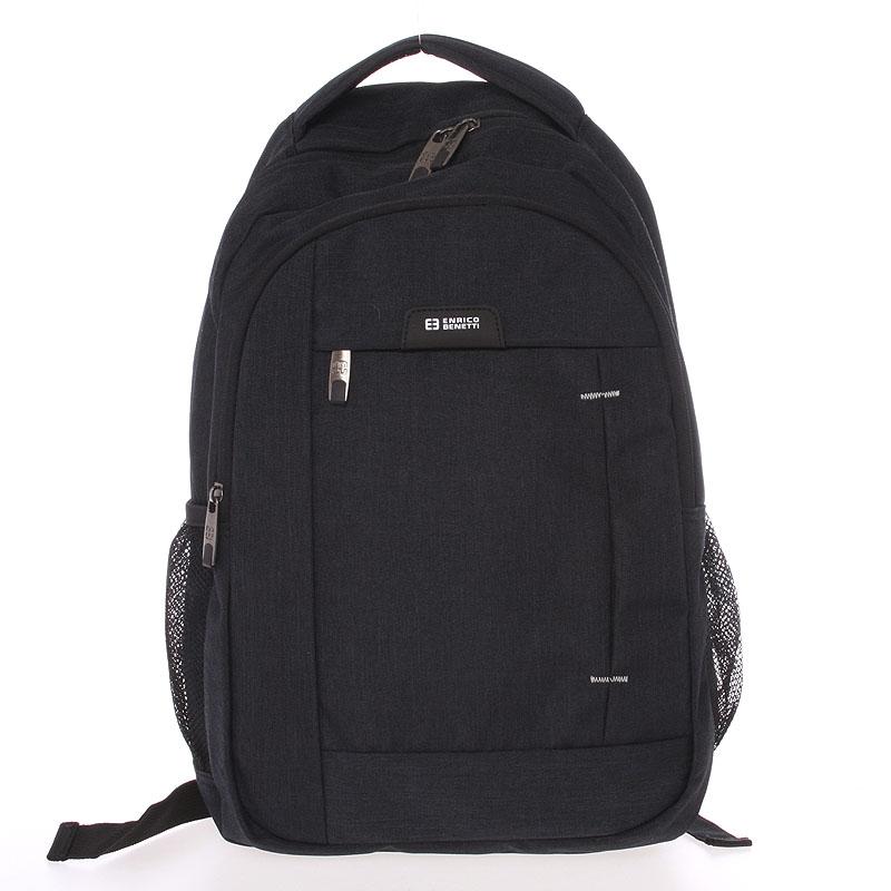 Moderní černý batoh do školy - Enrico Benetti Acheron černá