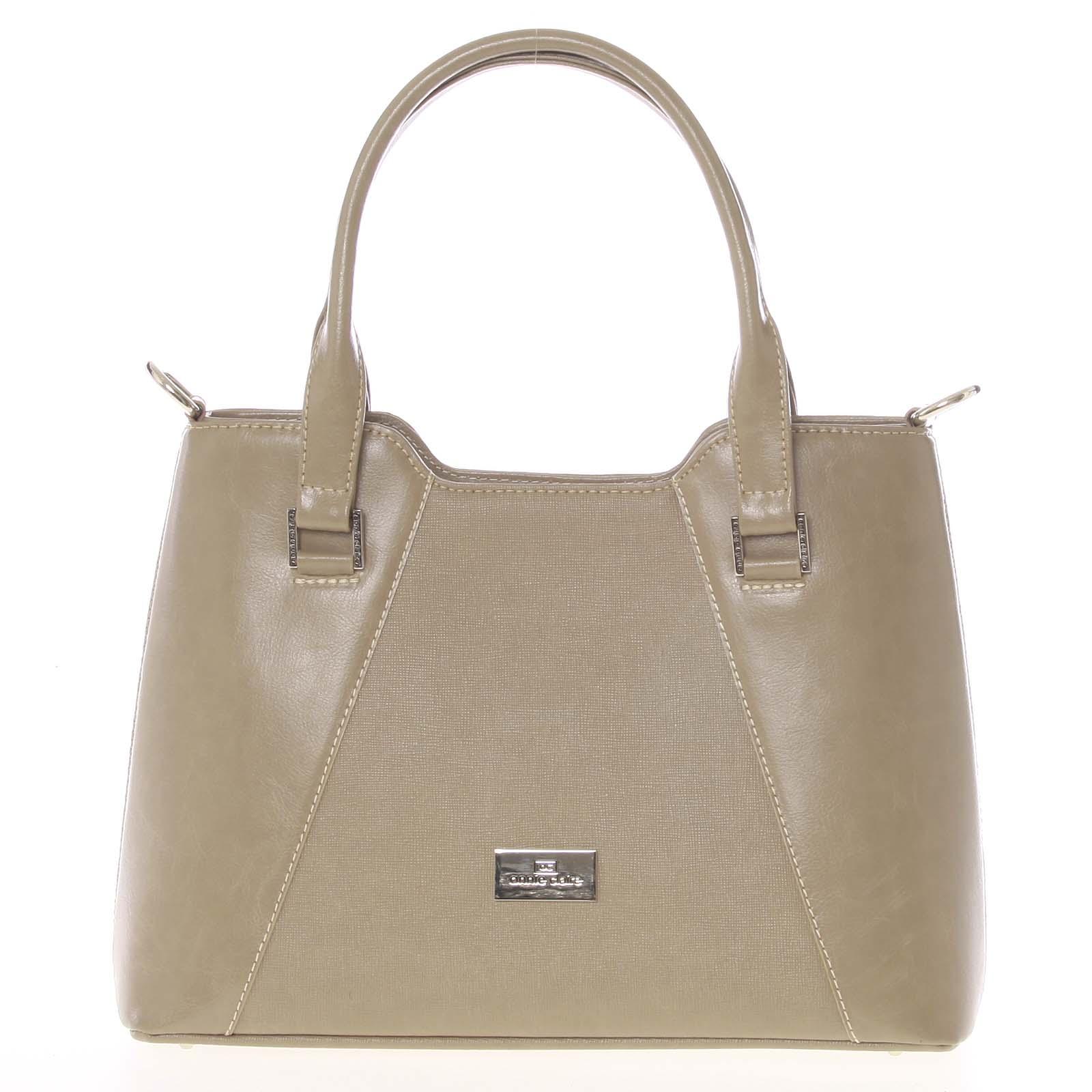 Pevná luxusní camel kožená kabelka saffiano - Annie Claire 4012 Camel