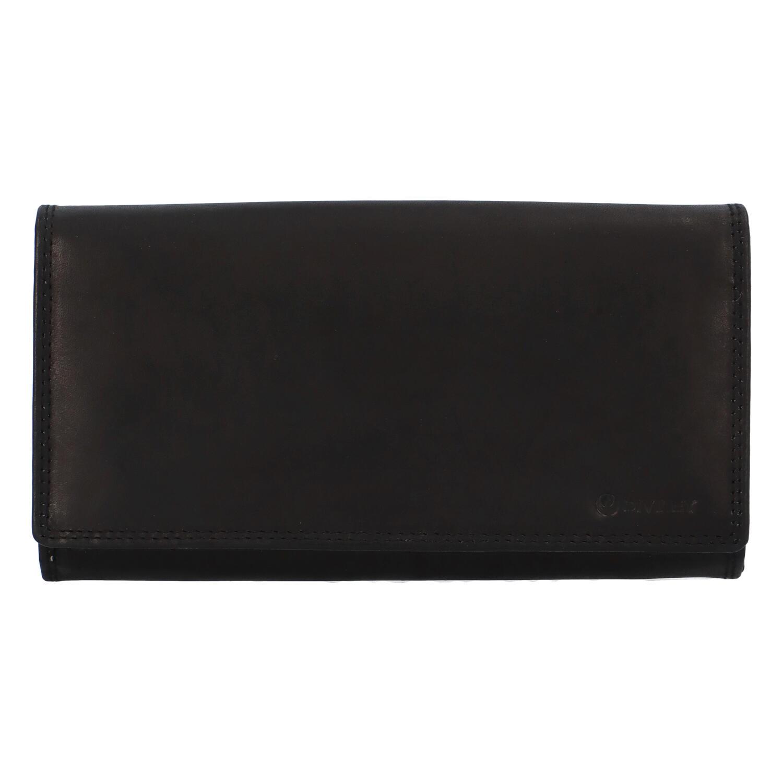Dámská kožená peněženka černá - Diviley 4008M. A4:ne Materiál:hovězí kůže Kování:stříbrné Rozměry (max.):18 x 9,5 x 3,5 cm (šířka x výška x hloubka) Výška ucha:- cm(měřeno odohybuucha kolmo ke kabelce) Délka popruhu:- Kód zboží:M-4208