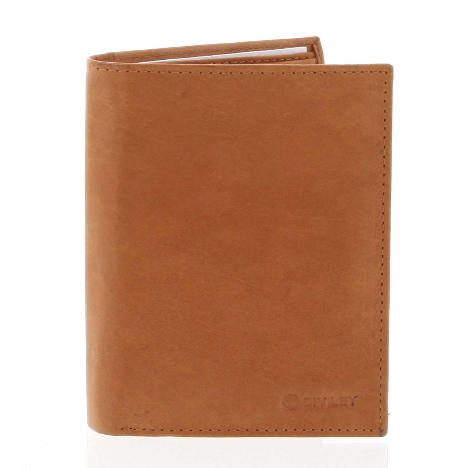 Pánská pevná kožená peněženka koňaková - Diviley Kainat koňak