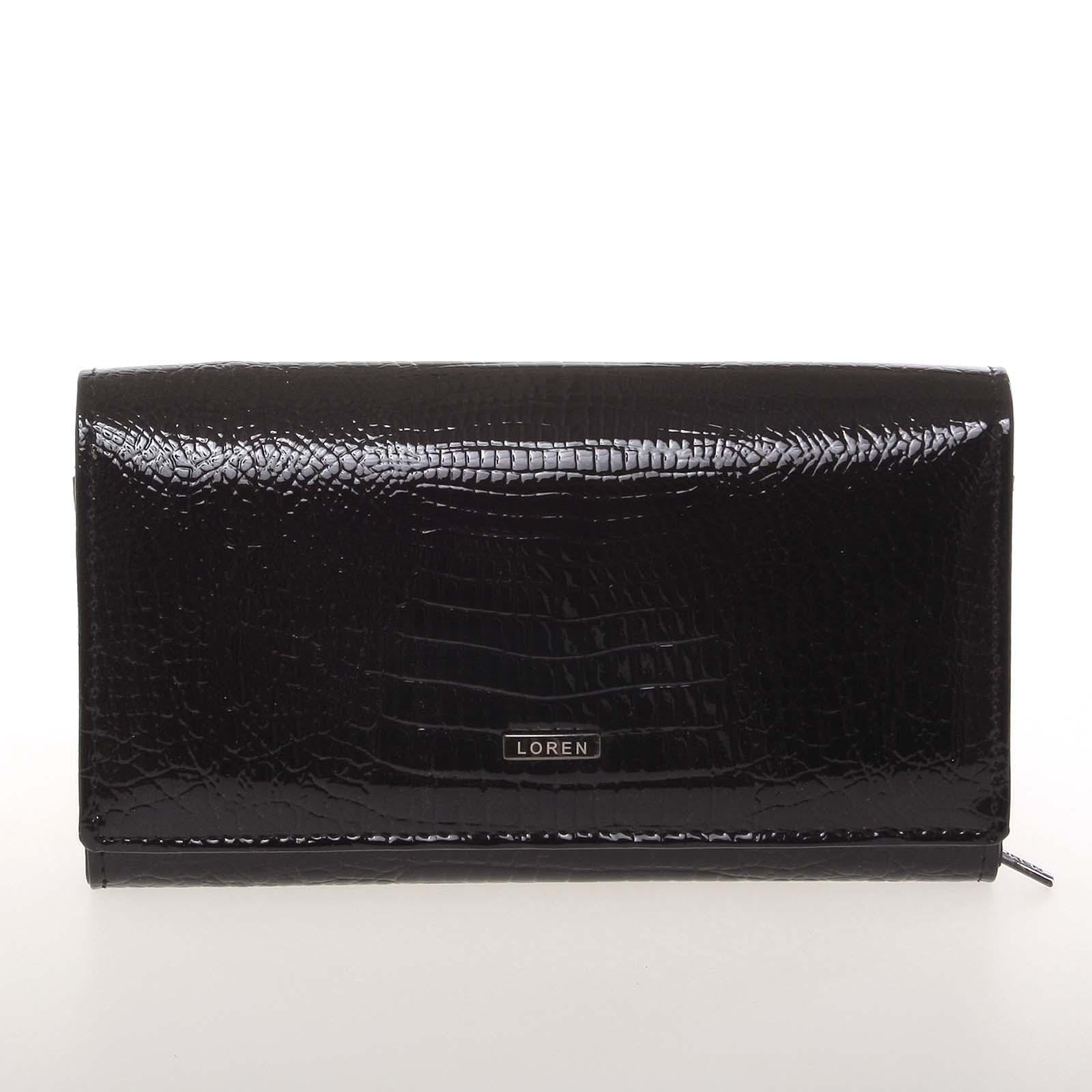 Střední kožená lakovaná dámská peněženka černá - Loren 72035RS LOREN