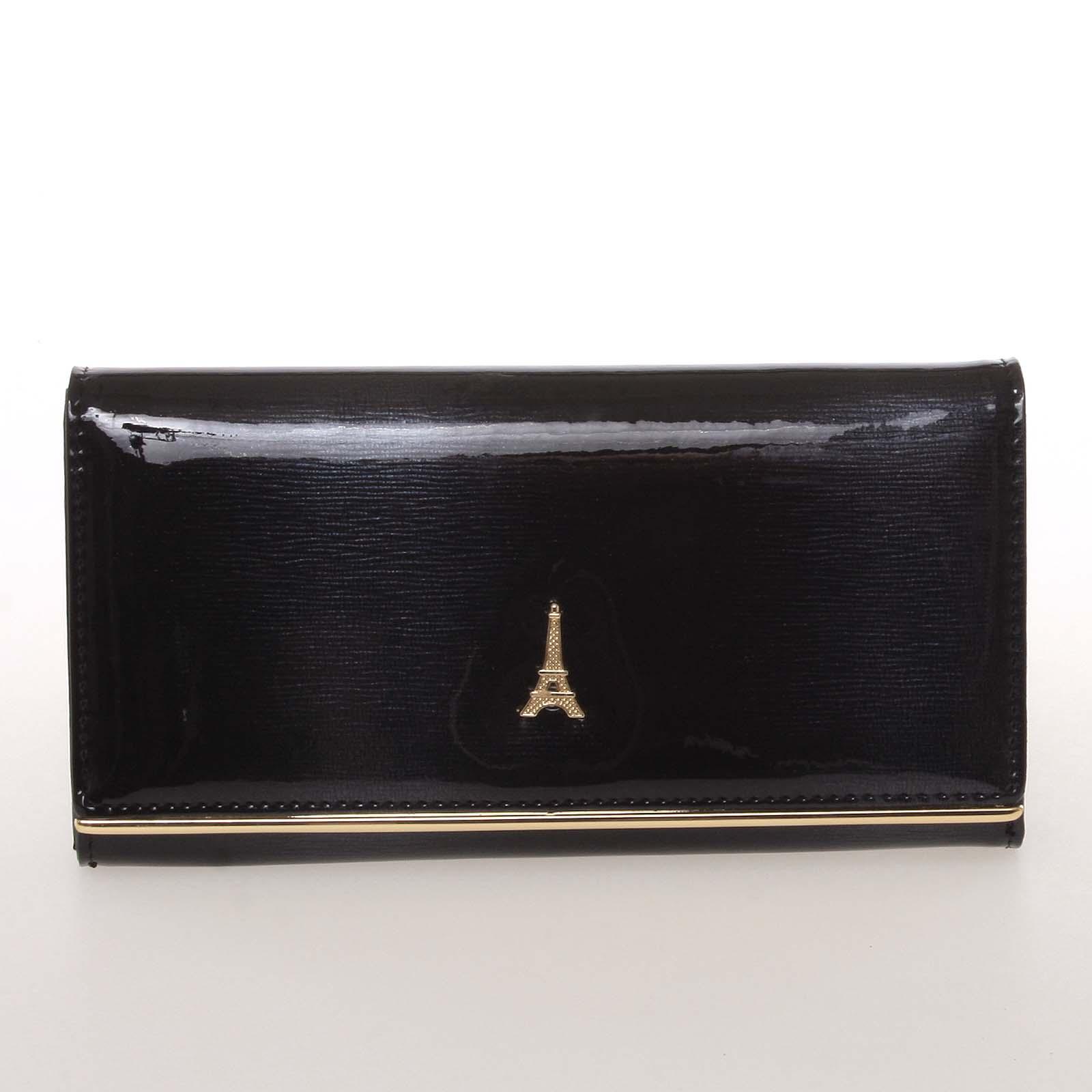 Jedinečná kožená lakovaná dámská peněženka černá - PARIS 64003DSHK LOREN