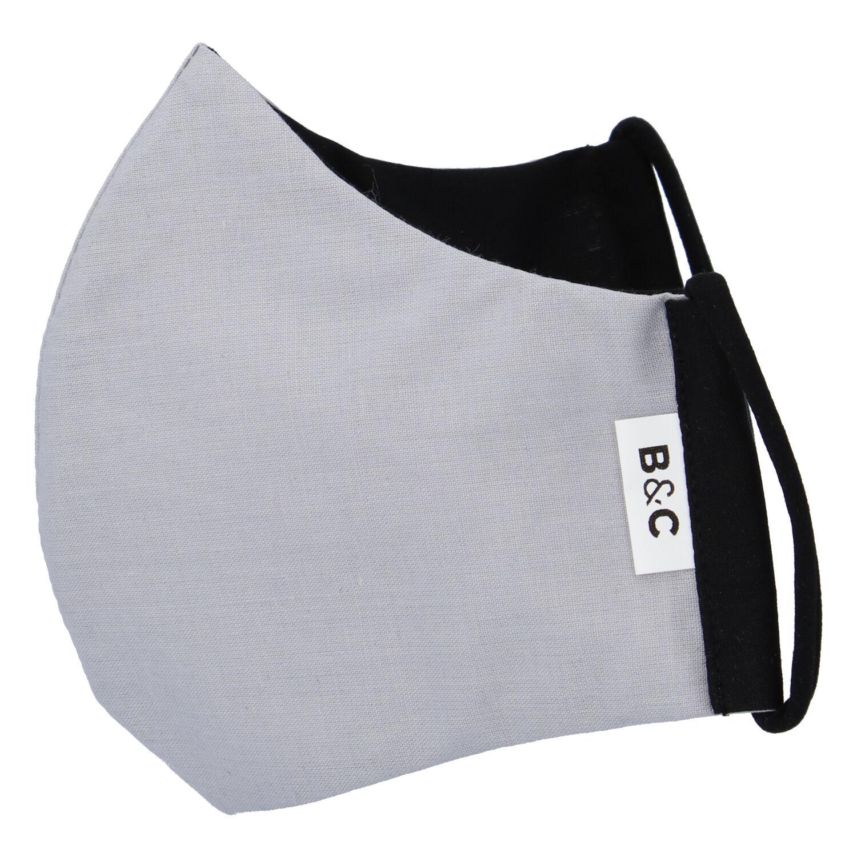 Stylová antibakteriální rouška s ionty stříbra světle šedá - B&C BIOACTIVE L šedá