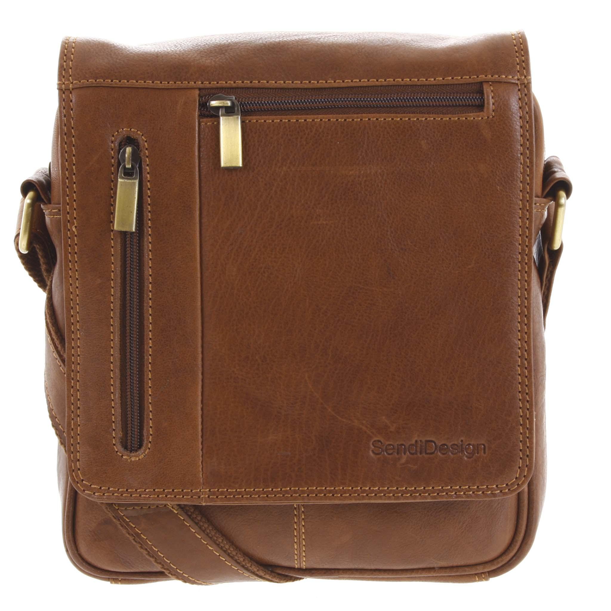 Levně Pánská kožená taška přes rameno hnědá - SendiDesign Thoreau