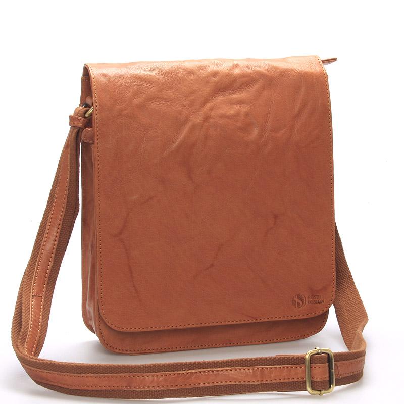 Levně Větší světle hnědá crossbody pánská kožená brašna - Sendi Design Daril