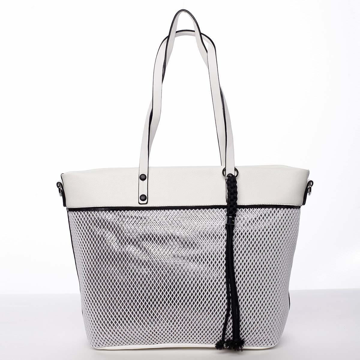 Jedinečná perforovaná dámská kabelka přes rameno bílá - Maria C Karolay bílá