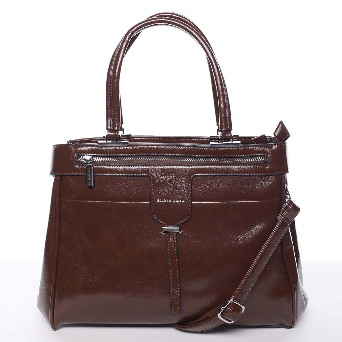 Luxusní moderní dámská hnědá kabelka do ruky - Silvia Rosa Venus hnědá