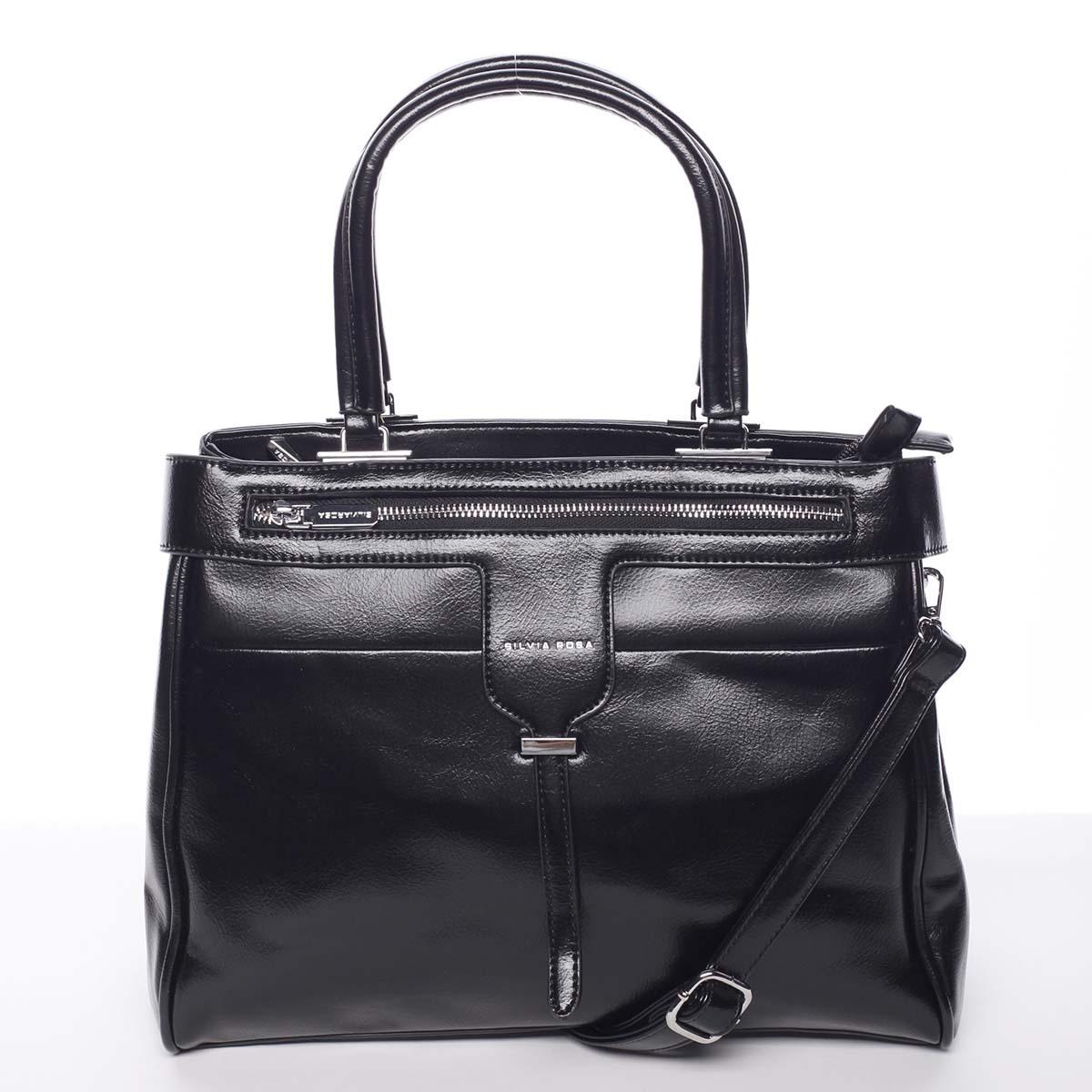 Luxusní moderní dámská černá kabelka do ruky - Silvia Rosa Venus černá