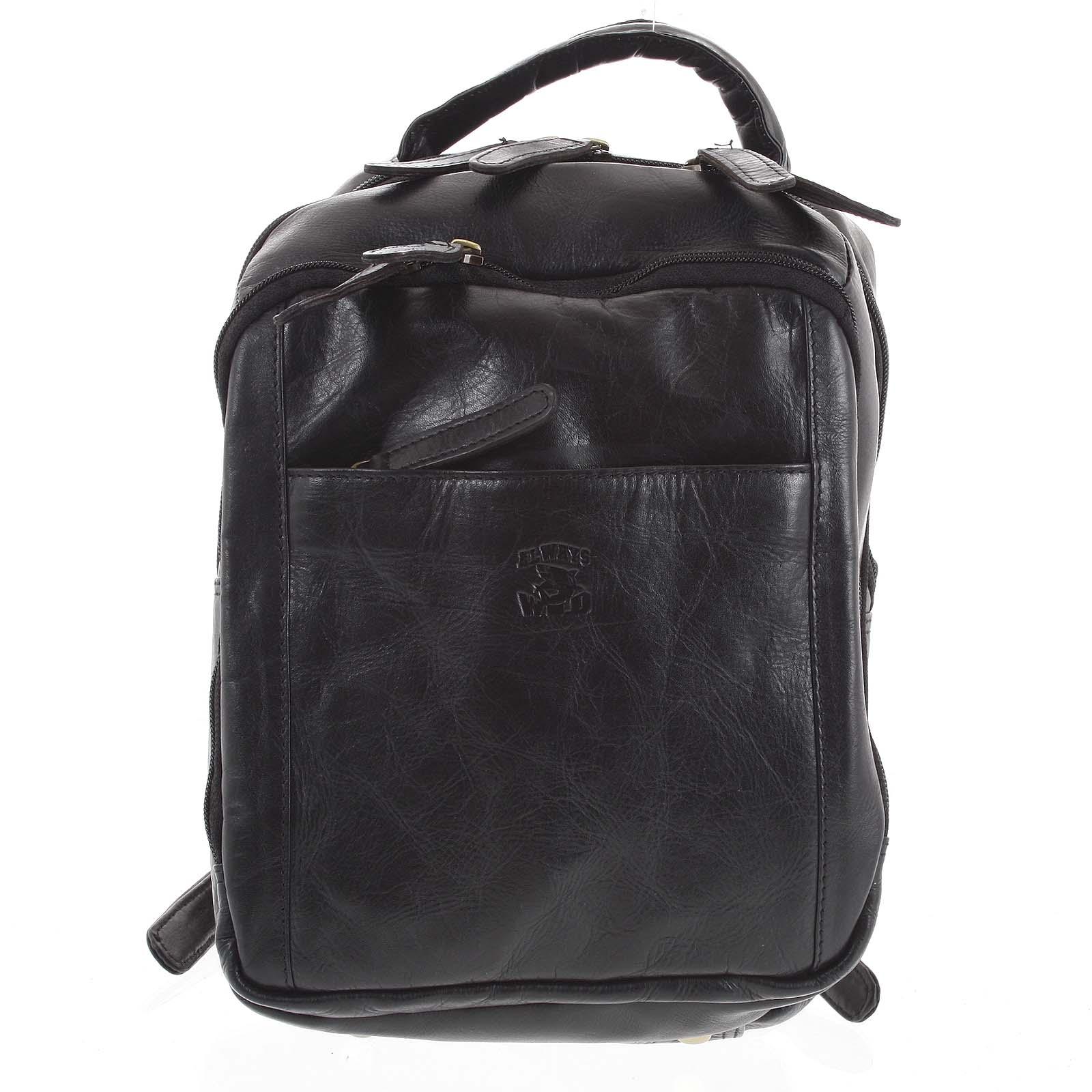 Pánský kožený batoh černý - WILD Josemar černá