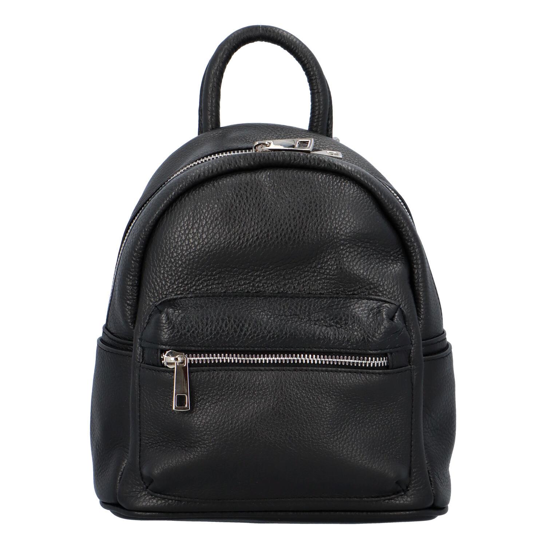 Dámský kožený batůžek černý - ItalY Fellas černá