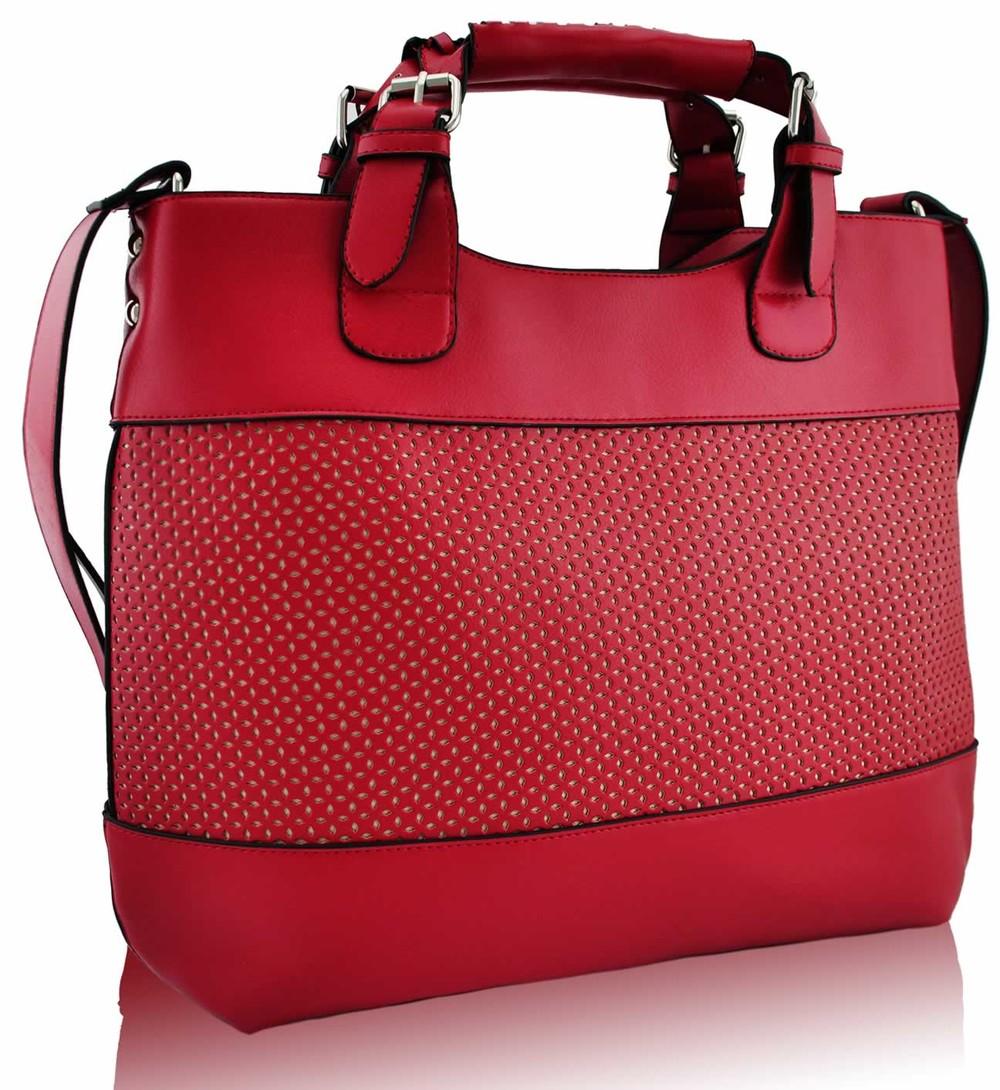 680db7b5756f Červená perforovaná kabelka LS fashion LS00268 - Kabea.cz