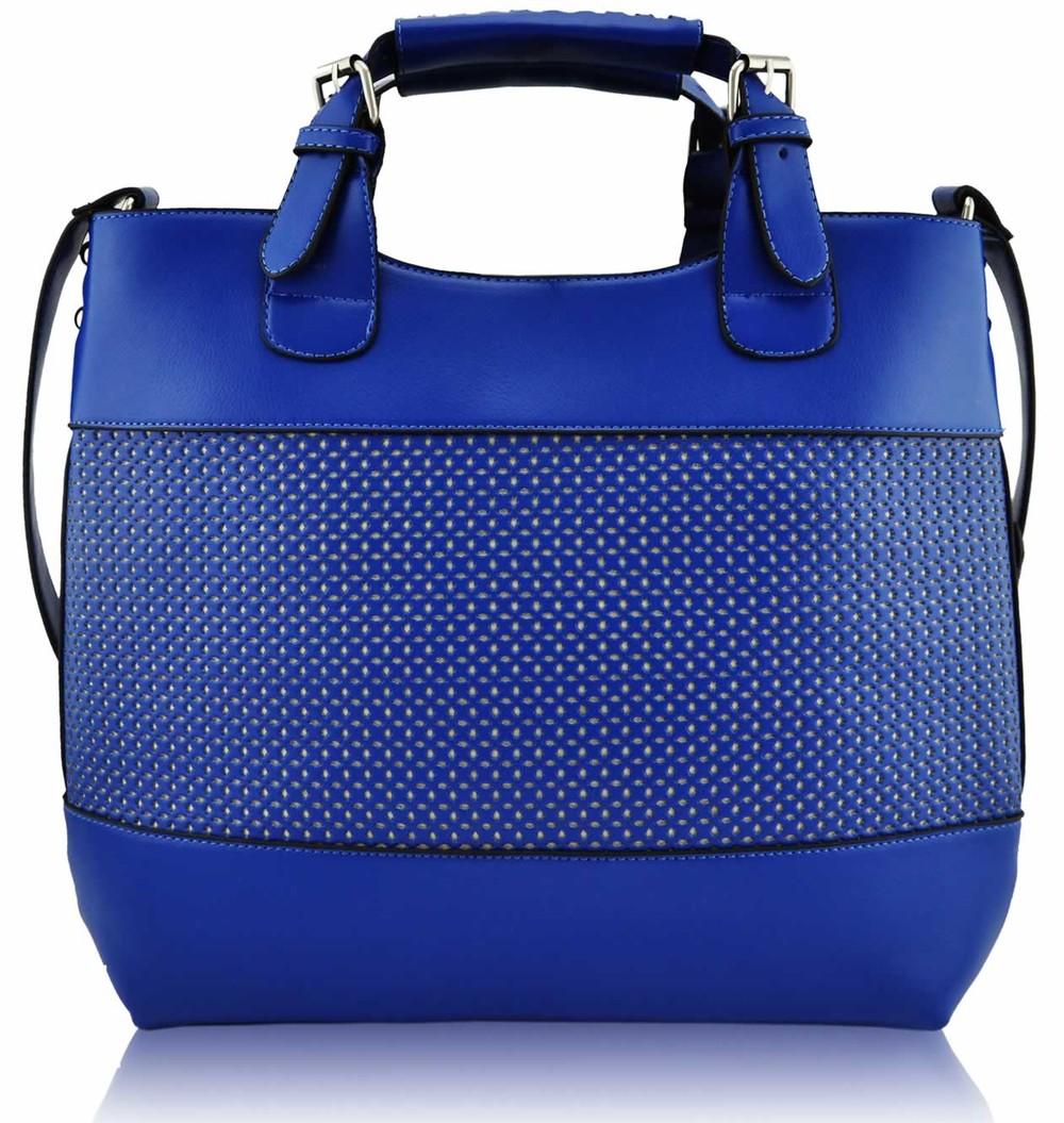 Modrá perforovaná kabelka LS fashion LS00268 - Kabea.cz 4623b3adb9