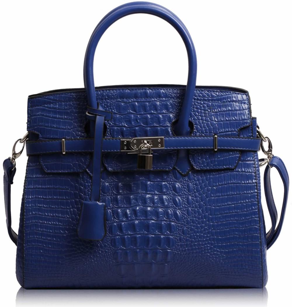 Modrá kabelka v imitaci kroko LS Fashion LS00140C - Kabea.cz 1f8a6280a2
