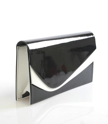 Černo-bílé lakované psaníčko Royal Style 0028 - Kabea.cz