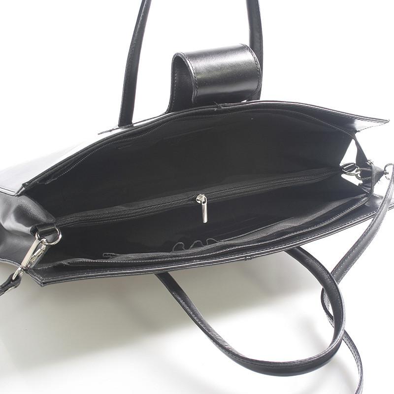 62c55924b3d0b Luxusní kožená aktovka kabelka černá - Italy Gabriela .
