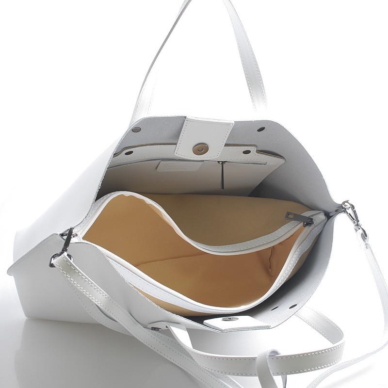916ea28b768ba Bílá kožená kabelka do ruky ItalY Jordana - Kabea.cz