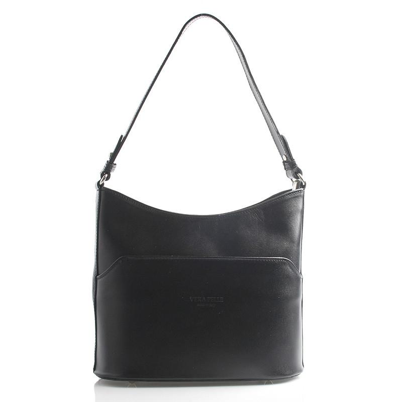4d49516cfe211 Černá kožená kabelka přes rameno ItalY Lydia - Kabea.cz