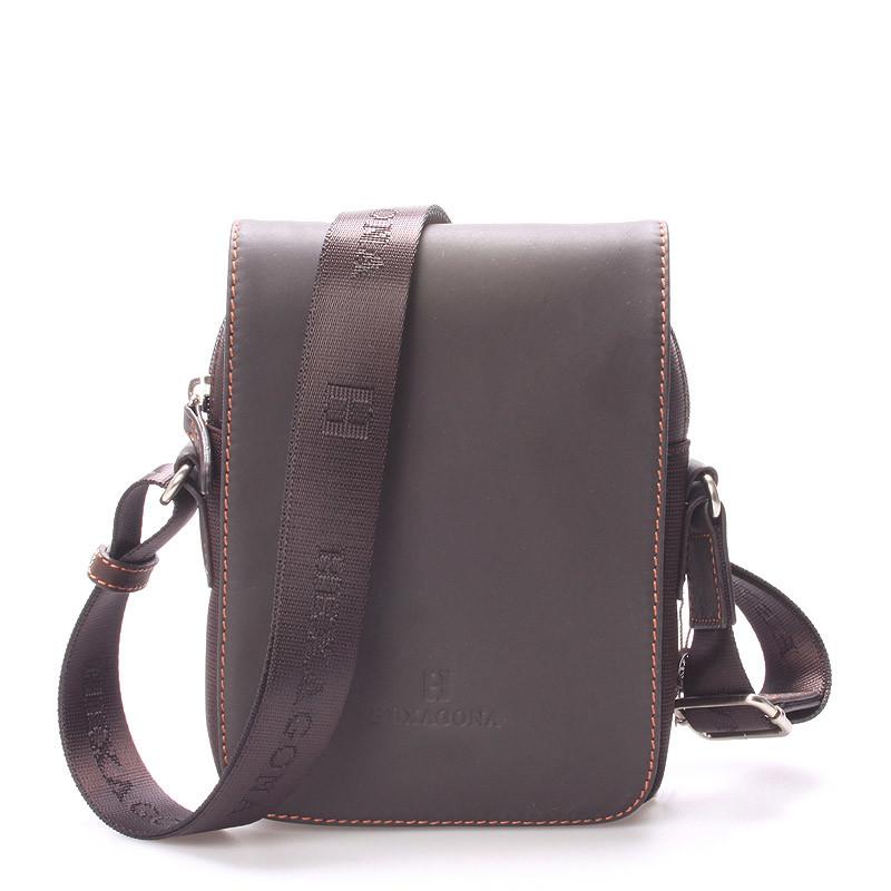 ... Luxusní pánská kožená kabelka přes rameno hnědá - Hexagona Filippo ... e4b59e9f93a