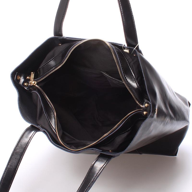 7c4a81a4a7 ... Luxusní dámská kožená kabelka přes rameno černá - LEESUN Mattia ...