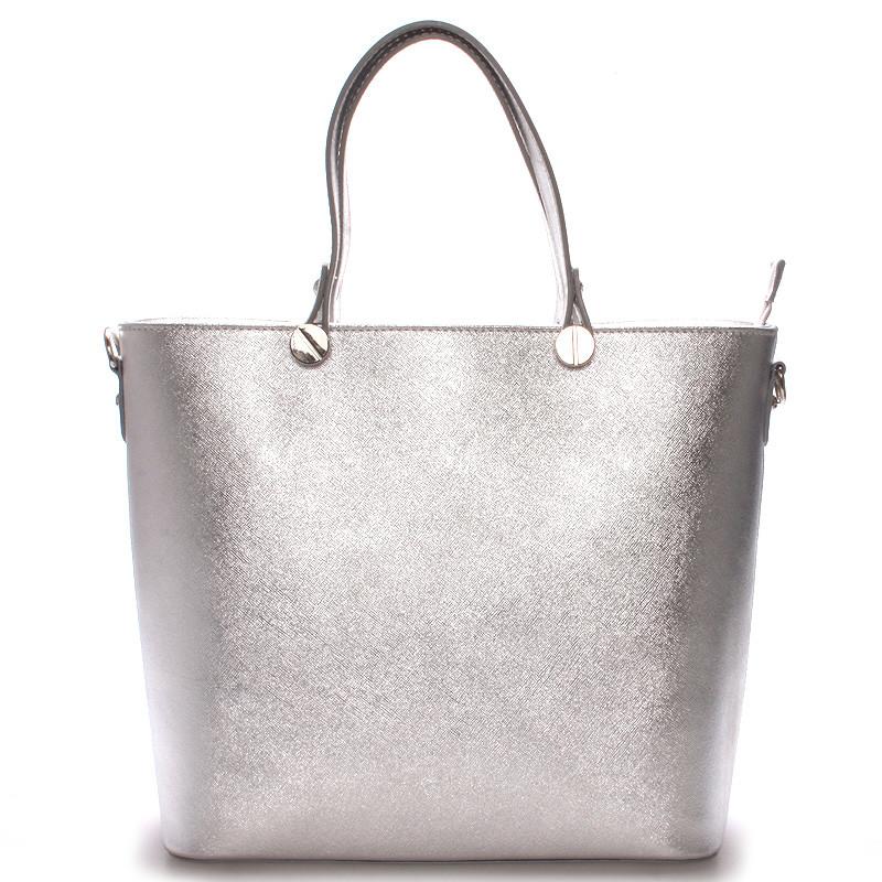 Dámská kožená kabelka stříbrná - ItalY Elza - Kabea.cz 55a44558915