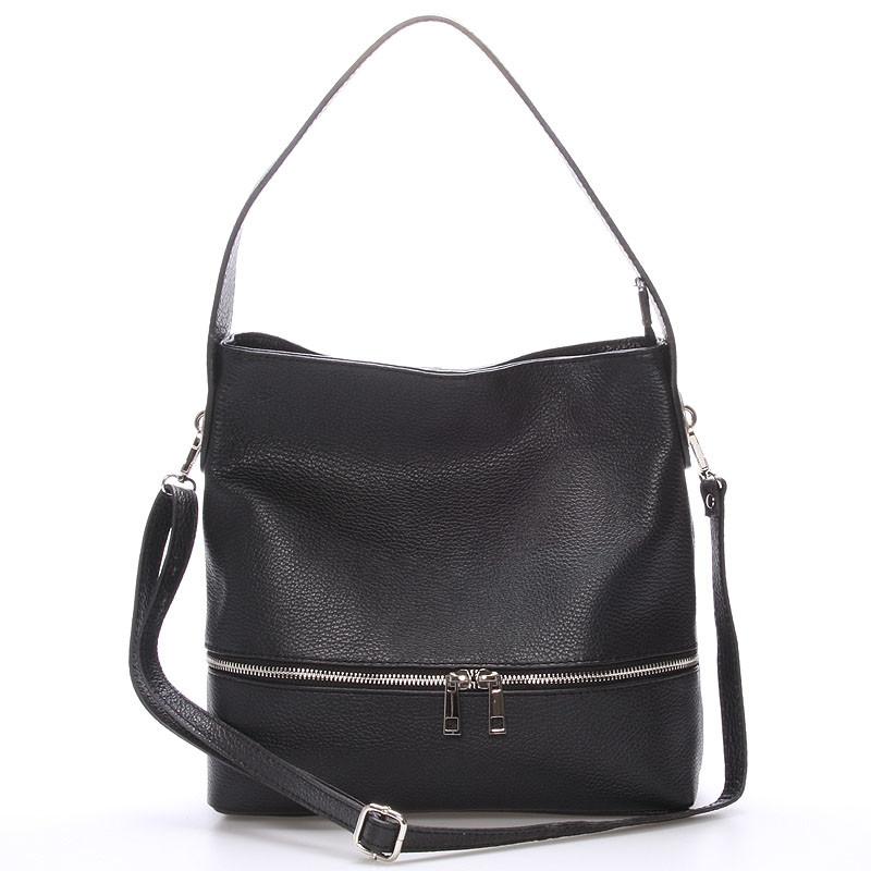 7853eefb35d Dámská kožená kabelka přes rameno černá - ItalY Miriam - Kabea.cz