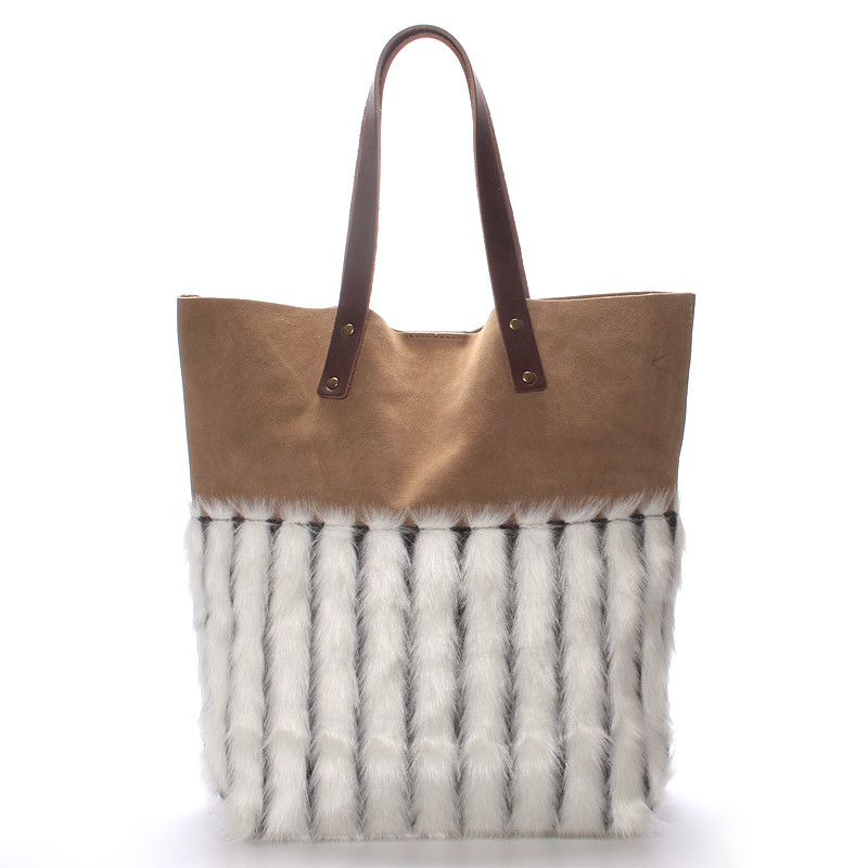 Dámská kožená kabelka shopper s kožešinou bílá - ItalY Rachel - Kabea.cz 7715cbcc90a