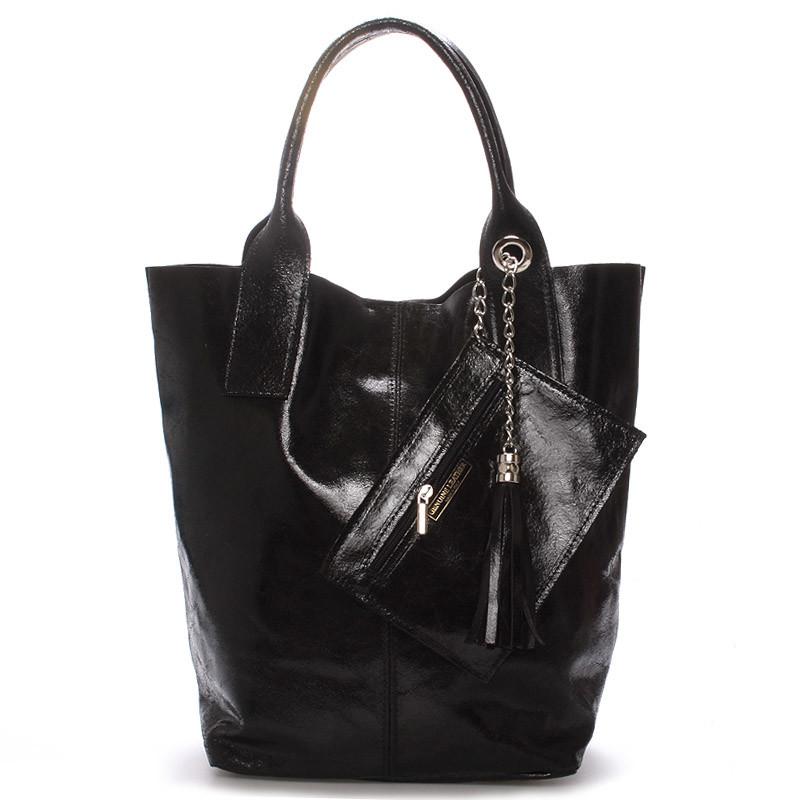 bf1c82d762 Dámská velká kožená kabelka shopper černá - ItalY Perla - Kabea.cz
