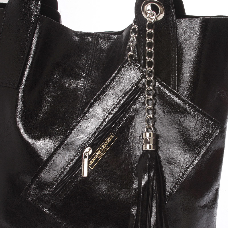 Dámská velká kožená kabelka shopper černá - ItalY Perla - Kabea.cz e1571e4853c
