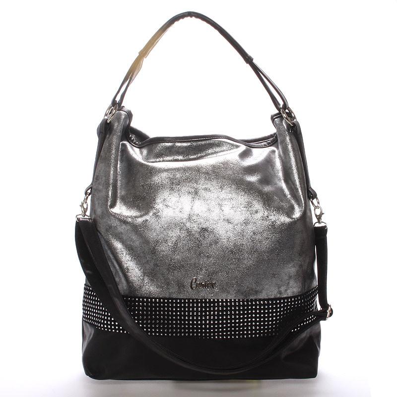Elegantní velká dámská kabelka stříbrná - Carine Aurelie - Kabea.cz a78d8efc3d7