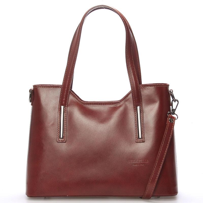 Střední kožená kabelka hnědá - ItalY Chevell - Kabea.cz 6294638762b