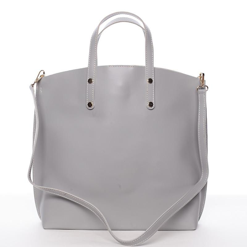 411512a475 Dámská kožená kabelka do ruky světle šedá - ItalY Sydney - Kabea.cz