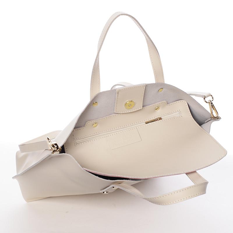 23c175cf2 Dámská kožená kabelka do ruky světle béžová - ItalY Sydney - Kabea.cz