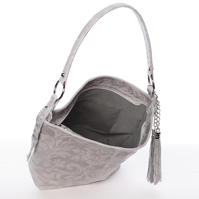ec4e309302 Dámská kožená kabelka přes rameno šedá - ItalY Heather - Kabea.cz