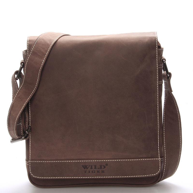 Luxusní pánská kožená taška přes rameno hnědá - WILD Aldrich - Kabea.cz 7d1fe44a8ff