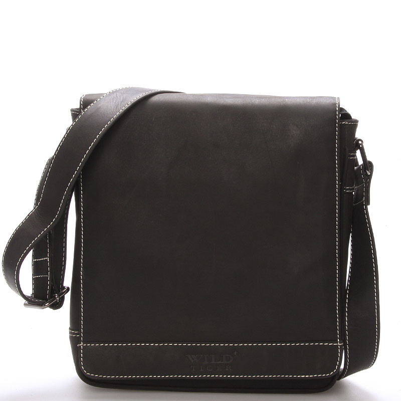 e0fb5170cd Luxusní pánská kožená taška přes rameno černá - WILD Aldrich - Kabea.cz