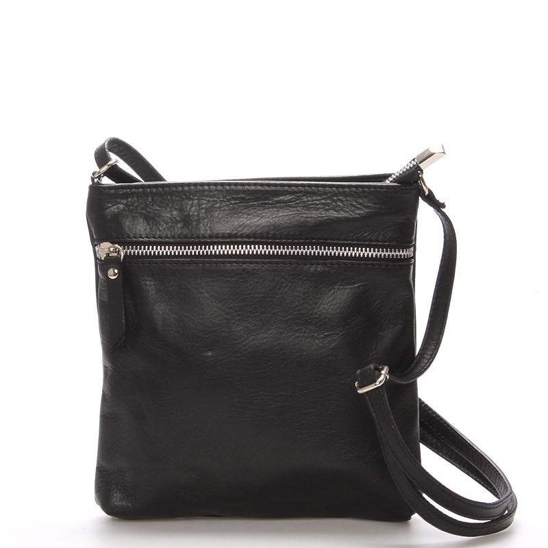d89d481a61 Dámská menší černá kožená kabelka přes rameno - ItalY Slania - Kabea.cz