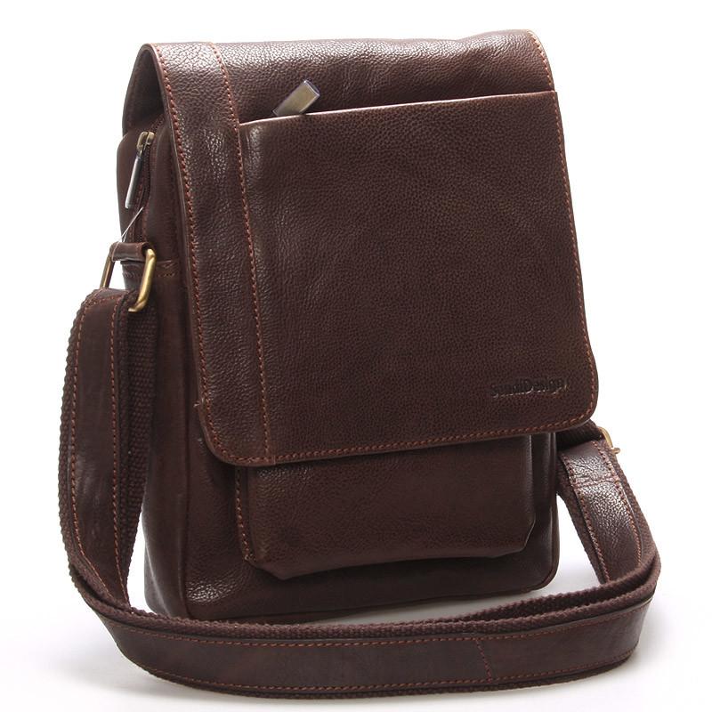Originální pánská kožená taška přes rameno hnědá - SendiDesign Lenard ... 5c558415084