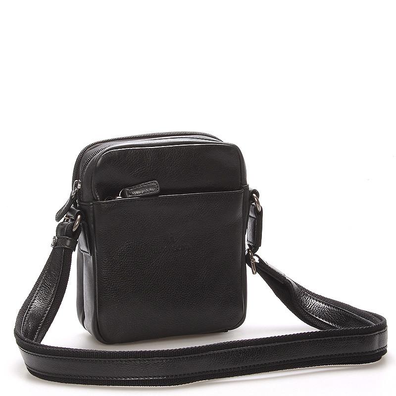 5c6bc70c58 Černá luxusní kožená taška na doklady Hexagona 129477 - Kabea.cz