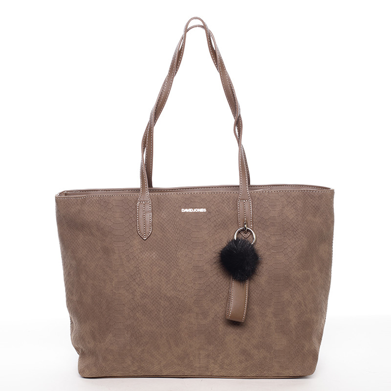 Originální velká dámská kabelka přes rameno tmavá taupe - David Jones Ilona  ... 034a91c7273