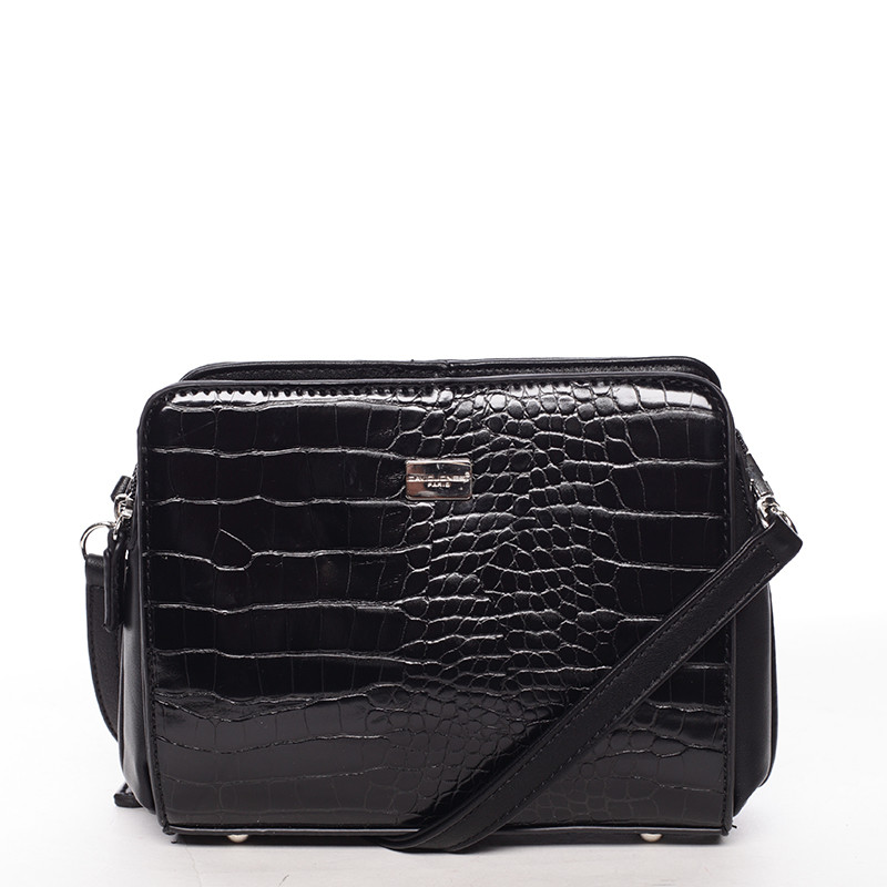 27a5988c12 Dámská crossbody kabelka černá s hadím vzorem - David Jones Snake ...