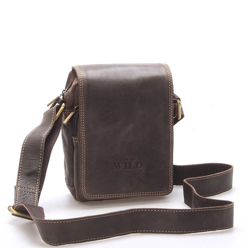 e1aadf23d7 Malá pánská kožená taška tmavě hnědá - WILD Ethan - Kabea.cz