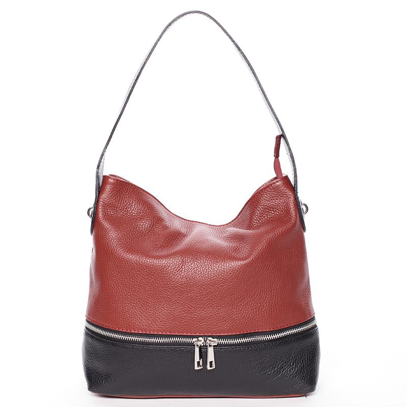 56f03e87a27 Dámská kožená kabelka přes rameno červeno černá - ItalY Miriam ...
